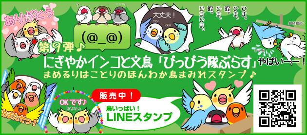 LINEスタンプにぎやかインコと文鳥「ぴっぴう隊ぷらす」